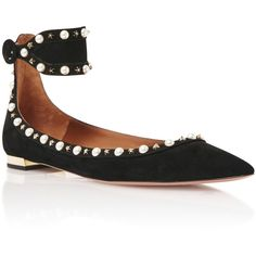 Aquazzura Harlow Embellished Suede Flats (10.594.970 IDR) ❤ liked on Polyvore featuring shoes, flats, black, black flat shoes, pointed toe flats, stud flat shoes, black shoes and black flats