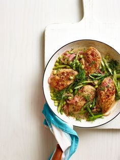 One-Pan Spring Chicken with Asparagus and Edamame  - Delish.com