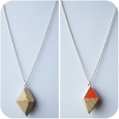 Wooden Geo Diamond Necklace with Peach Colour Accent.