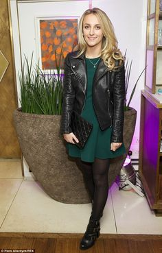 Leather look: Tiffany, who joined the Made In Chelsea cast in series 8, donned a green dre...