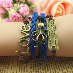 wrap bracelets octopus love jewelry Halloween gift