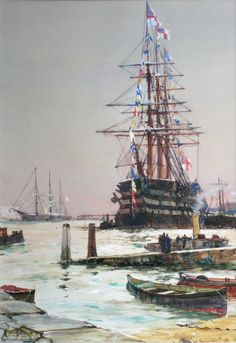 ctsuddeth.com: HMS St. Vincent at Portsmouth, 1899. CHARLES DIXON, RI, (1872-1934)