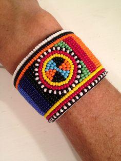 Beaded Leather Maasai Bracelet.  via Etsy.