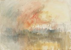 from the sketchbook of Joseph Mallord William (JMW) Turner (1775‑1851). The Burning of the Houses of Parliament, From Burning of the Houses of Parliament (1) Sketchbook, 1834, Watercolour on paper. Click for more of his sketches of this work.
