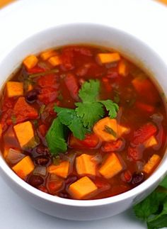 Black Bean and Sweet Potato Soup Recipe on twopeasandtheirpod.com Love this healthy vegetarian soup!