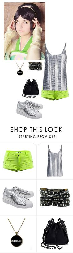 """""""Toph - Neon Knight"""" by kellyspanner ❤ liked on Polyvore featuring Paco Rabanne, adidas Originals and Valentino"""