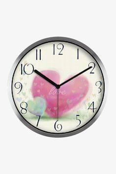 Art Wall Clock With Love Hearts In Silver Satin