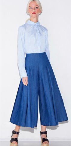 a1293938aef Aliexpress.com   Buy Summer Skants Women High Waist Flare Pants Vintage  Blue Pleated Wide Leg Denim Pant Office Trousers Pantacourt Femme ete from  Reliable ...