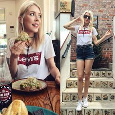 Get this look: http://lb.nu/look/8745491 More looks by Suzy: http://lb.nu/thekawaiiplanet Items in this look: Levi's® Levi's Tee, Cello Jeans Denim Shorts, Converse White Sneakers, Nine West Sunglasses #casual #chic #street #denimshorts #levis #tshirt #tee #musthave #romwe