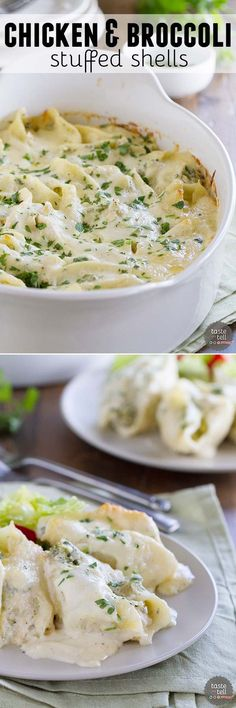 Chicken, broccoli and lots of cheese are stuffed in large pasta shells, then baked with a cheesy Alfredo on top in these Chicken and Broccoli Stuffed Shells that are creamy and cheesy and definitely delicious.