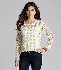 """Gianni Bini Liza Crochet Knit Top-Saw this in """"Beautiful creatures"""". Must make it in sage green. No pattern, just this pic."""