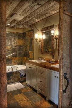 The tile and the wood with the knock down upper wall for master bath