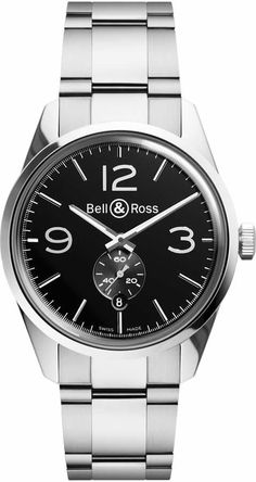 Bell & Ross BR 123 OFFICER BRG123-BL-ST-SST.The elegance of the Vintage Officer centers around the simplicity of its form as well as the quality of its finish. The polished case, the domed crystal, the satin finish of the dial, the polished numerals and the fashioning of the hands enhance the look of this precious timepiece