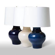 "cookie jar lamp in indigo | lamp base 19""H, shade 13""H, shade top 17""DIA, shade bottom 19""DIA | barbara cosgrove lamps"