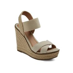 Women's Buffy Espadrille Sandals Merona ($24) via Polyvore featuring shoes, sandals, platform wedge sandals, wedge shoes, wedge sandals, slip on wedge sandals and merona sandals