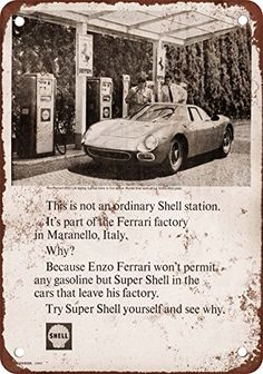 1965 Ferrari 250 Uses Shell Gas Vintage Look Reproduction Metal Sign * You can find out more details at the link of the image.