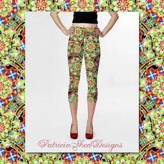 #PatriciaSheaDesigns Design Confections Fun Capri Spandex Leggings colourful patterned yoga ski active wear textile design by Maine artist Patricia Shea