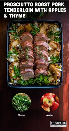 This one-pan roast is a surprisingly simple weeknight dinner option that pairs pork tenderloin with thyme and apples. Prepare this delicious dish using the built-in thermometer on the Frigidaire Professional Range. The probe lets you know exactly when the roast reaches the desired temperature.