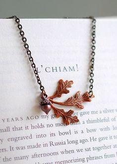 Antiqued Copper Oak Leaf and Acorn Necklace. Woodland