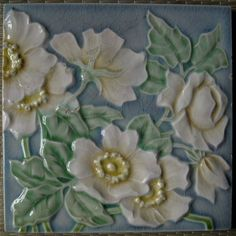 GERMANY - M.O.&.P.F. - ANTIQUE ART NOUVEAU MAJOLICA TILE C1900 #MOPF