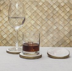 Marble Gold Edged Coasters  The natural patterns of the marble coasters gives an elegant look for your home décor.