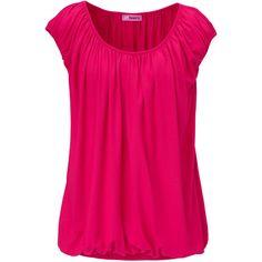 24HOURS Shirt, kurzärmlig, geraffte Kanten, Gummizug featuring polyvore fashion clothing tops shirts blouses pink shirts & tops pink shirt pink top