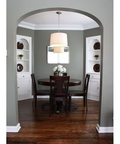 """Love the wall color against the white baseboard and white crown molding with white furniture. WANT FOR MASTER BEDROOM WALLS~~ Wall color: Benjamin Moore """"Antique Pewter"""". Living Room Paint, My Living Room, Dinning Room Paint Colors, Dining Room Paint Colors Benjamin Moore, Bedroom Colors, Gray Living Room Walls, Living Room Wall Colors, Basement Wall Colors, Grey And Brown Living Room"""