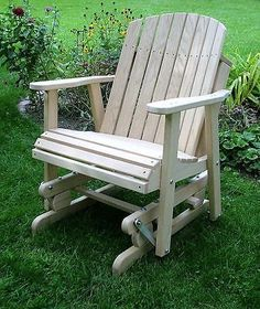 AMISH Oak Barrel GLIDER CHAIR Wood Outdoor Furniture