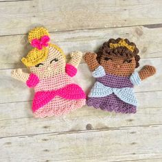 Fun princess-themed crochet hand puppets that your own little princess will treasure!