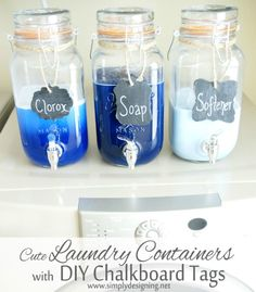 Laundry containers with DIY labels from Simply Designing