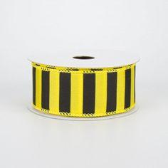 "1.5"" Medium Stripe Ribbon: Yellow & Black (10 Yards) Deco Mesh Ribbon, Wired Ribbon, Fabric Ribbon, Ribbon Colors, Yellow Black, Black Stripes, Craft Outlet, Halloween Deco Mesh, Bee Theme"