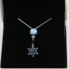 Pandora Chain Necklaces Information about 925 Sterling Silver Link Chain Necklace With Blue SnowFlake Charm and Blue Glass Bead #pandora #pandoranecklace #necklace