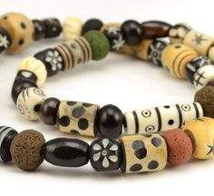 Mixed Bead Tribal Necklace  Clay Wooden Bone by DysfunctionDesigns, £10.00