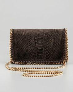 Snake-Embossed Velvet Crossbody Bag, Bronze by Stella McCartney at Neiman Marcus.