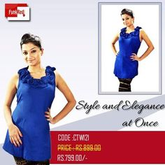 A beautiful floral design and a vibrant blue color matching an amazing shade a very good tunic you always wanna have.