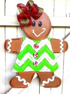 Christmas Gingerbread Girl Wooden Door Hanger Yard by Earthlizard