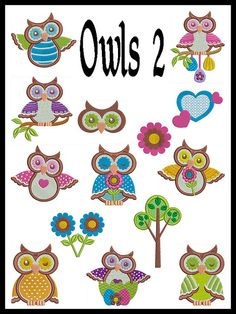 Set of 14 - OWLS 2 - Machine Embroidery - Instant Digital Download via Etsy