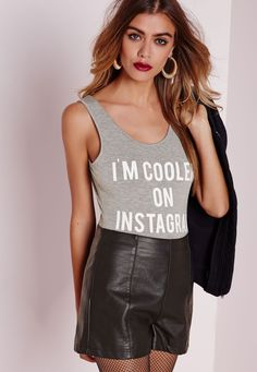 Missguided - 'I'm Cooler On Instragram' Slogan Bodysuit Grey