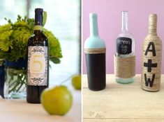 DIY Wedding Wine Bottle Decor - cuz i might have a few lying around the house Diy And Crafts Sewing, Crafts For Girls, Craft Wedding, Diy Wedding, Wedding Stuff, Wedding Wine Bottles, Wine Bottle Crafts, Diy Bottle, Healthy Snacks For Kids