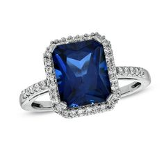 Emerald-Cut Blue and White Sapphire Ring