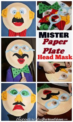 Mister Paper Plate Head Mask with interchangeable features- A fun changeable mask made out of felt pieces. Kid's crafts