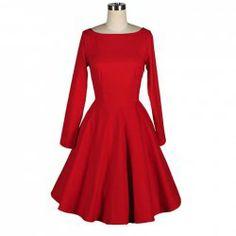 Vintage Boat Neck Flouncing Backless Long Sleeves Red Dress For Women