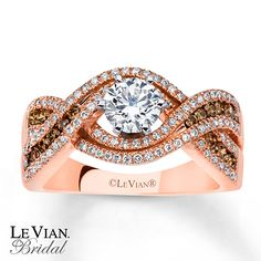 Le Vian Engagement Ring Chocolate Diamonds 14K Strawberry Gold