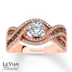 Le Vian Engagement Ring Chocolate Diamonds 14K Strawberry Gold