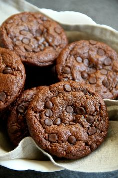 Flourless Chocolate Zucchini Muffins -- gluten-free, grain-free, oil-free, dairy-free, refined sugar-free, but so soft and delicious that you'd never be able to tell!    runningwithspoons.com