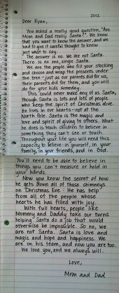 "I'm a big fan of this breakdown on Santa. I appreciated the idea behind Santa as a child, but this letter from a child's parents just smashes the nail on the head for me. I dislike the idea of ""robbing"" the magic of Christmas from my children with ""the truth"", but with a message like this I don't feel as though I have to anymore. Awesome.:: #christmas #santa #gifts #parenting #kids"