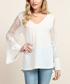 Look what I found on #zulily! Off-White Sheer Bell-Sleeve V-Neck Top #zulilyfinds