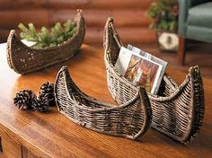 Nesting Woven Twig Canoes-Set/3 from wildwings.com