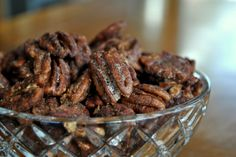 Candied Pecans 1 tsp cold water 1 egg white 2 cups pecan halves 1/2 cup of sugar (or 6 tsp of Truvia) 1 tsp cinnamon 1 tsp salt