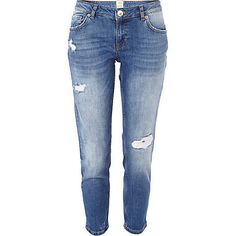 Light wash ripped Eva girlfriend jeans �40.00